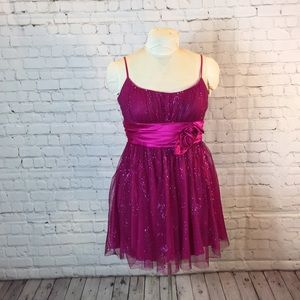 B Smart fuchsia sparkling party dress w sash